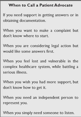 when to call a patient advocate