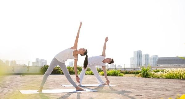 Trikonasana or triangle pose