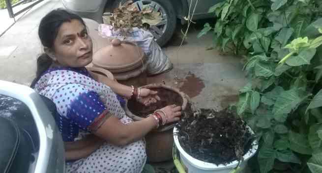 Woman Composting