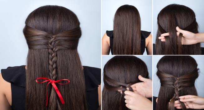 Half braid hairdo hindi