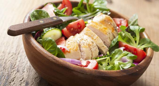 Healthy chicken salad recipe with poached chicken