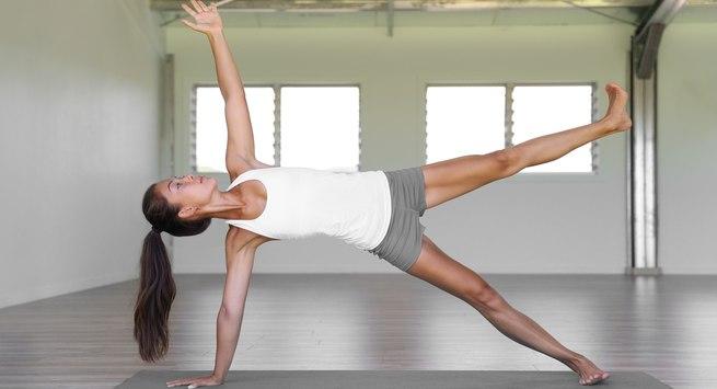 Balancing star pose for bikini body