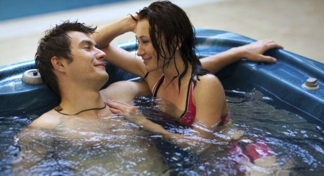 Couple romancing in Bathtub Hindi