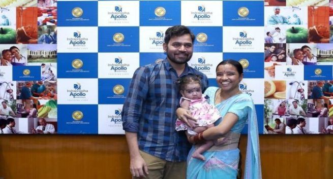 thumbnail_Baby Surampudi with her parents after the surgery at Apollo Hospitals